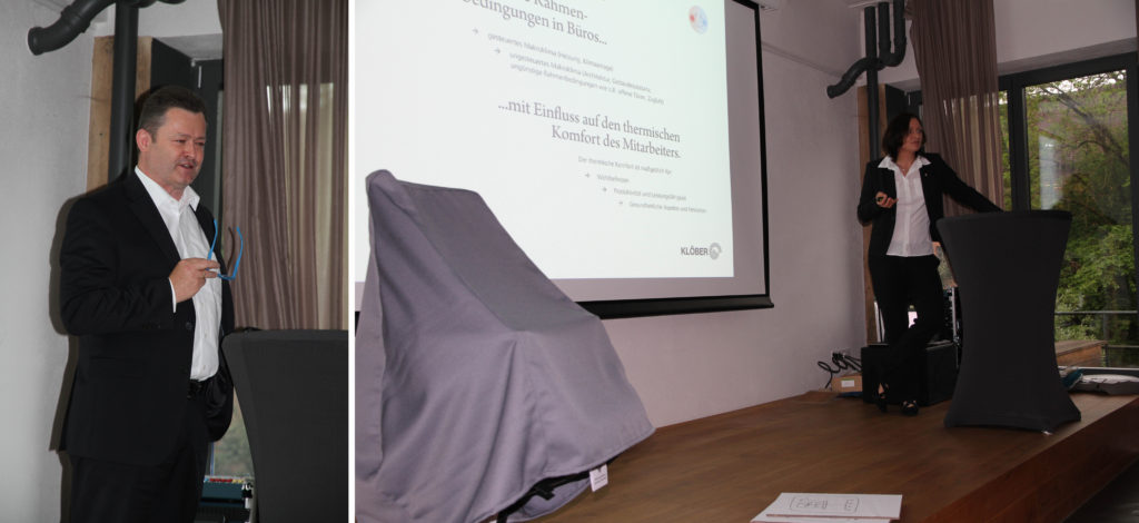 Brian Boyd and Prof. Dr.-Ing. Hoffmann at the first Klimastuhl Event held at the premises of one of our main dealers: Chairholder in Schorndorf