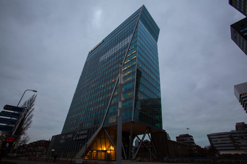 "The office building ""De Haagsche Zwaan"" owes its name to the swan-like architecture. The ninth floor of this striking building is taken up by the co-working space of the Dutch company TOO."