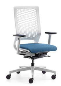 The Mera office chair with mesh back: a larger mesh size means greater flexibility, while a smaller size offers more support.