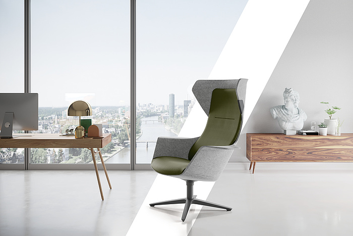WORK + ROOM = WOOOM – The new shell chair from Klöber combines the best of both worlds